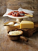 Italian cheeses and parma ham on board