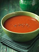 Close up of bowl of tomato soup