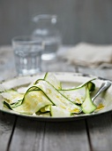 Sliced courgette with parmesan cheese