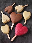 Heart-shaped ice cream bars