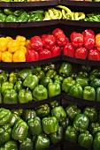 Variety of Peppers on a Market Display