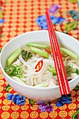Rice noodle soup with spring onions (Asia)
