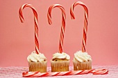 Three Cupcakes with Candy Canes