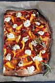 Courgette, pepper, tomato and herb cream cheese pizza