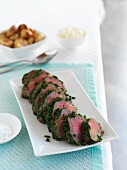 Roast beef with a herb crust