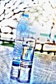 Wasserflasche und Wasserglas auf Tisch