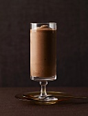 Chocolate Mousse in a Tall Dessert Glass; Spoon