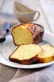 Lemon loaf cake, sliced