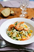 Pumpkin risotto with prawns