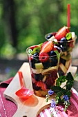 Fruit salad with basil and syrup