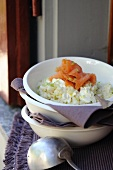 Risotto with cream cheese, spring onions and smoked salmon