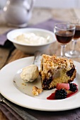 Blackberry and apple cake with crumbles and mascarpone cream