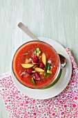 Gazpacho with raspberries and nectarines