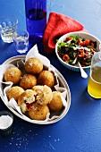 Fried rice dumplings with salad