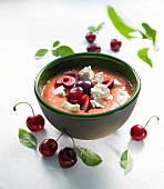 Gazpacho with cherries and feta cheese