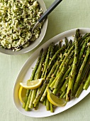 Platter of Grilled Asparagus with Lemon and a Bowl of Herbed Rice