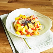 Mango Pineapple Salad with Chia Seed and Sweet Red Peppers
