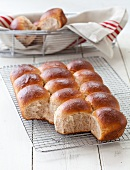 Whole Wheat Dinner Rolls on a Cooling Rack