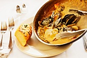 Mussels and Clams in a Garlic Cream Sauce