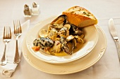 Steamed Mussels and Clams in Garlic Cream Sauce