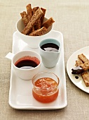 French Toast Sticks with Assorted Dipping Sauces