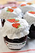 Making strawberry jam 8 – finished pot of strawberry jam
