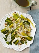 Braised Leek Salad with Shaved Parmesan Cheese and Walnuts