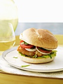 Fried Fish Sandwich with Onion, Tomato and Lettuce