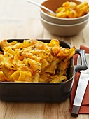 Baked Macaroni and Cheese in Baking Dish; Bowls