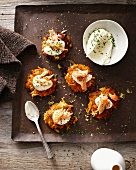 Tray of autumn rosti and sour cream