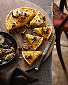 Pumpkin leek tart on wooden board