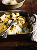 Dish of roast cauliflower with cheese
