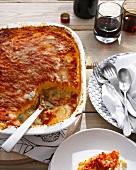 Dish of polenta cheese casserole