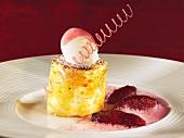 Vanilla quark pudding with glazed, wild vineyard peaches