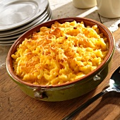 Homemade Baked Macaroni and Cheese in a Green Baking Dish