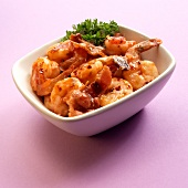 A Bowl of Shrimp in Sherry Sauce with Bacon