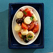 Brazilian Hearts of Palm Salad with Tomato, Olives and Onion