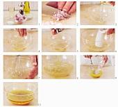 Vinegar and oil vinaigrette being prepared (German voice-over)