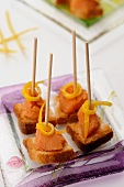 Canapes with smoked cod cream