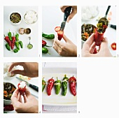 Stuffed chillis being made