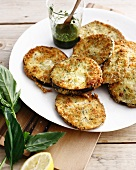 Plate of eggplant schnitzel with herbs