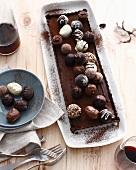 Platter of tart with chocolates