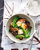Bowl of Japanese eggplant with tofu