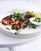 Plate of Moroccan salmon with yogurt