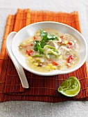 Bowl of fish and vegetable soup