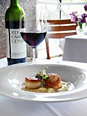 Pan Seared Scallops with a Glass of Red Wine