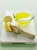 Bowl of fresh squeezed lemon juice