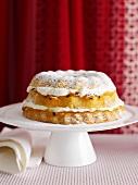 Platter of layered sponge cake