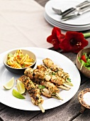 Fish kebabs with grilled pineapple
