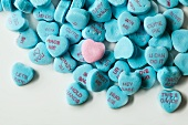 Blue Conversation Hearts with One Pink One